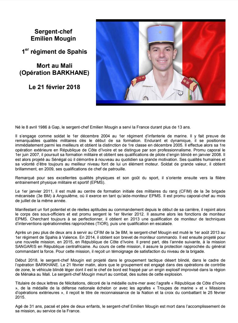 Portrait du sergent-chef Emilien Mougin