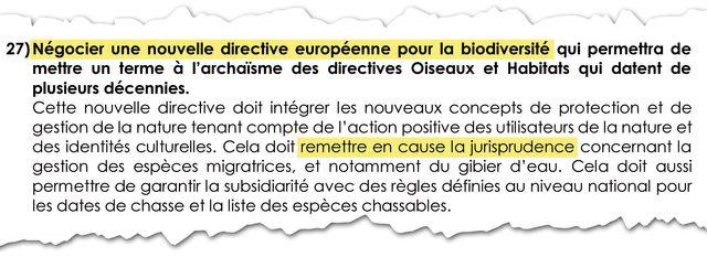 """""""Négocier une nouvelle directive européenne"""". Point 27 de la charte signée entre LREM et la FNC"""