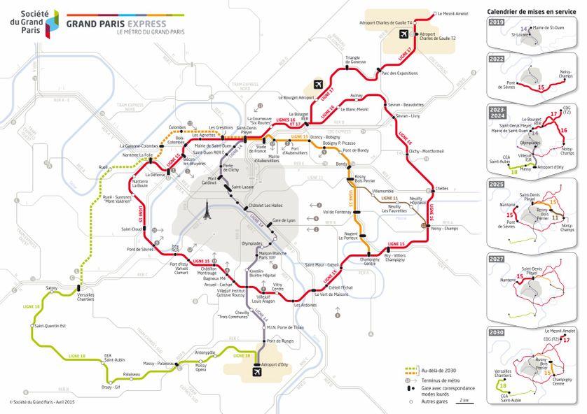 Plan du futur métro Grand Paris Express