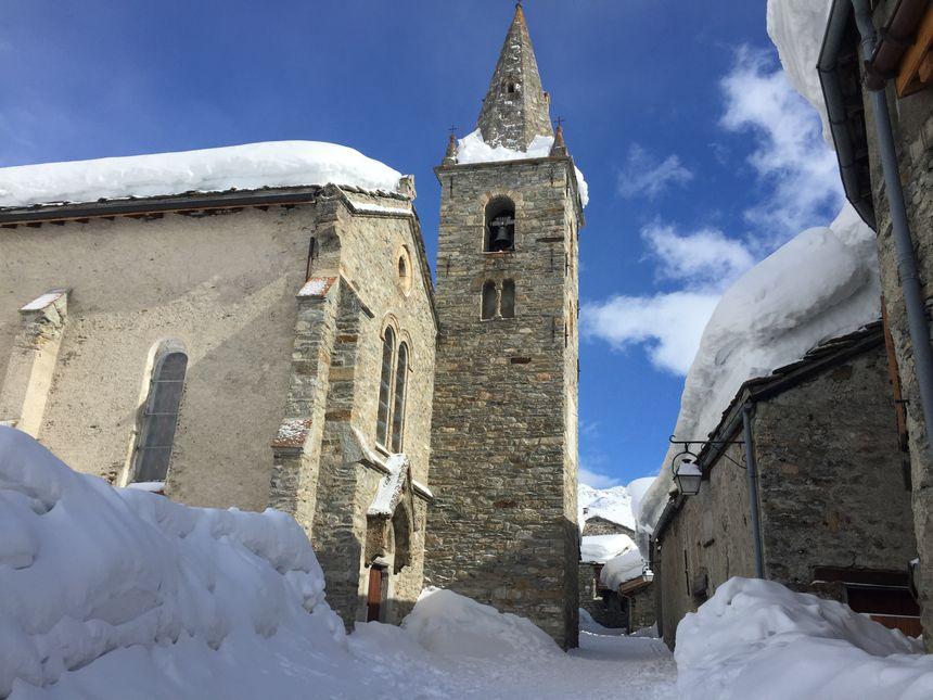 L'église de Bonneval-sur-Arc où a été tournée une scène du 3.
