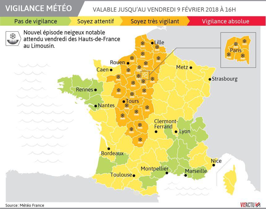 L'Indre-et-Loire est en vigilance orange jusqu'à vendredi tout comme 26 autres départements