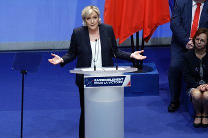 Marine Le Pen le 11 mars 2018 lors du Congrès du FN (qui devient Rassemblement National) à Lille