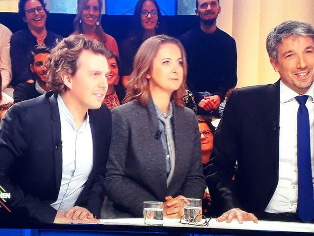 """Le """"triumvirat"""" (comme ils s'appellent) face à Yann Barthès sur le plateau de """"Quotidien"""", le 12 mars 2018"""