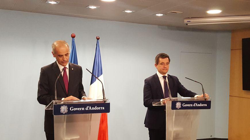 Gérald Darmanin lors de la conférence de presse commune avec le chef du gouvernement andorran Antoni Marti