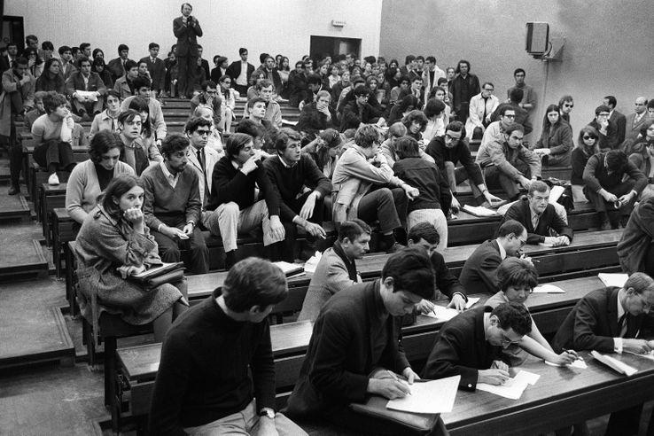 Amphi occupé à la fac de Nanterre le 22 mars 1968