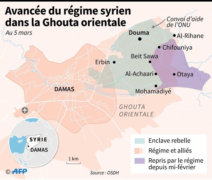 Carte de la Ghouta orientale et de l'enclave rebelle, dont plus d'un tiers a été repris par le régime syrien