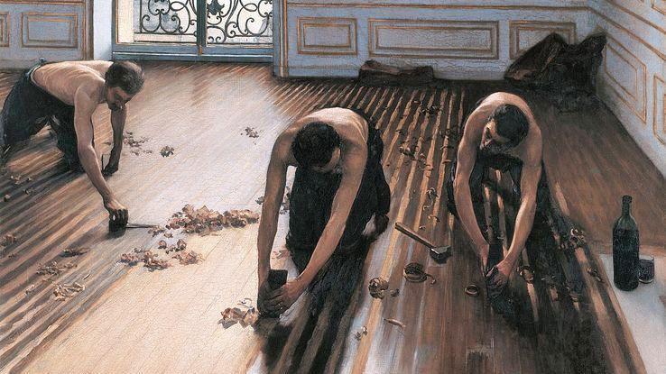 """""""Les Raboteurs de parquet"""" par Gustave Caillebotte, 1875, Musée d'Orsay"""