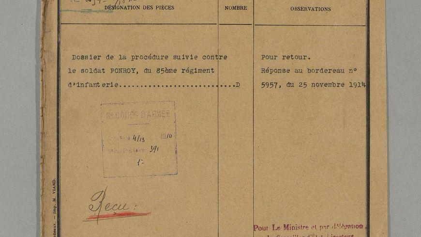 Auguste Ponroy a été condamné à mort et fusillé le 21 novembre 1914