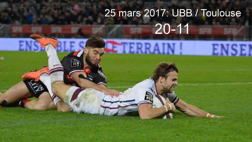 25 mars 2017 : UBB / Toulouse (20-11)