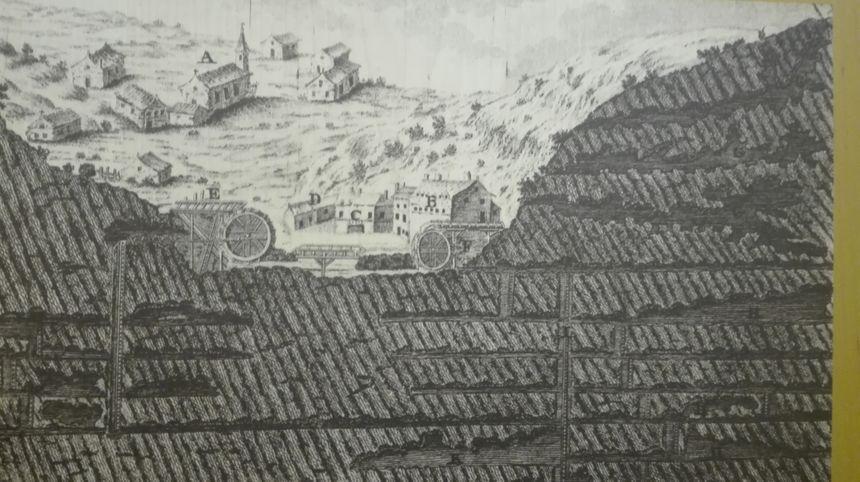 Plan des mines de Banca au XVIIe siècle, exposé au café/musée Olhaberri
