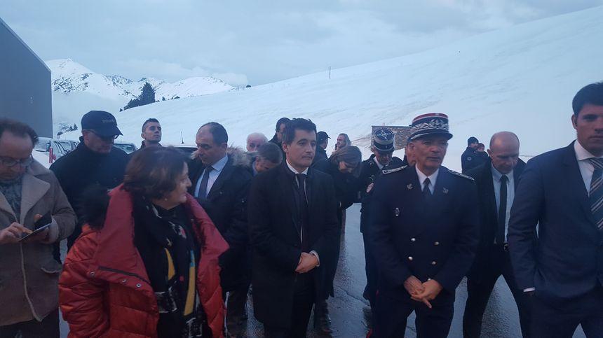 Le ministre Gérald Darmanin au poste frontière franco-andorran de Porta (Pyrénées-orientales)