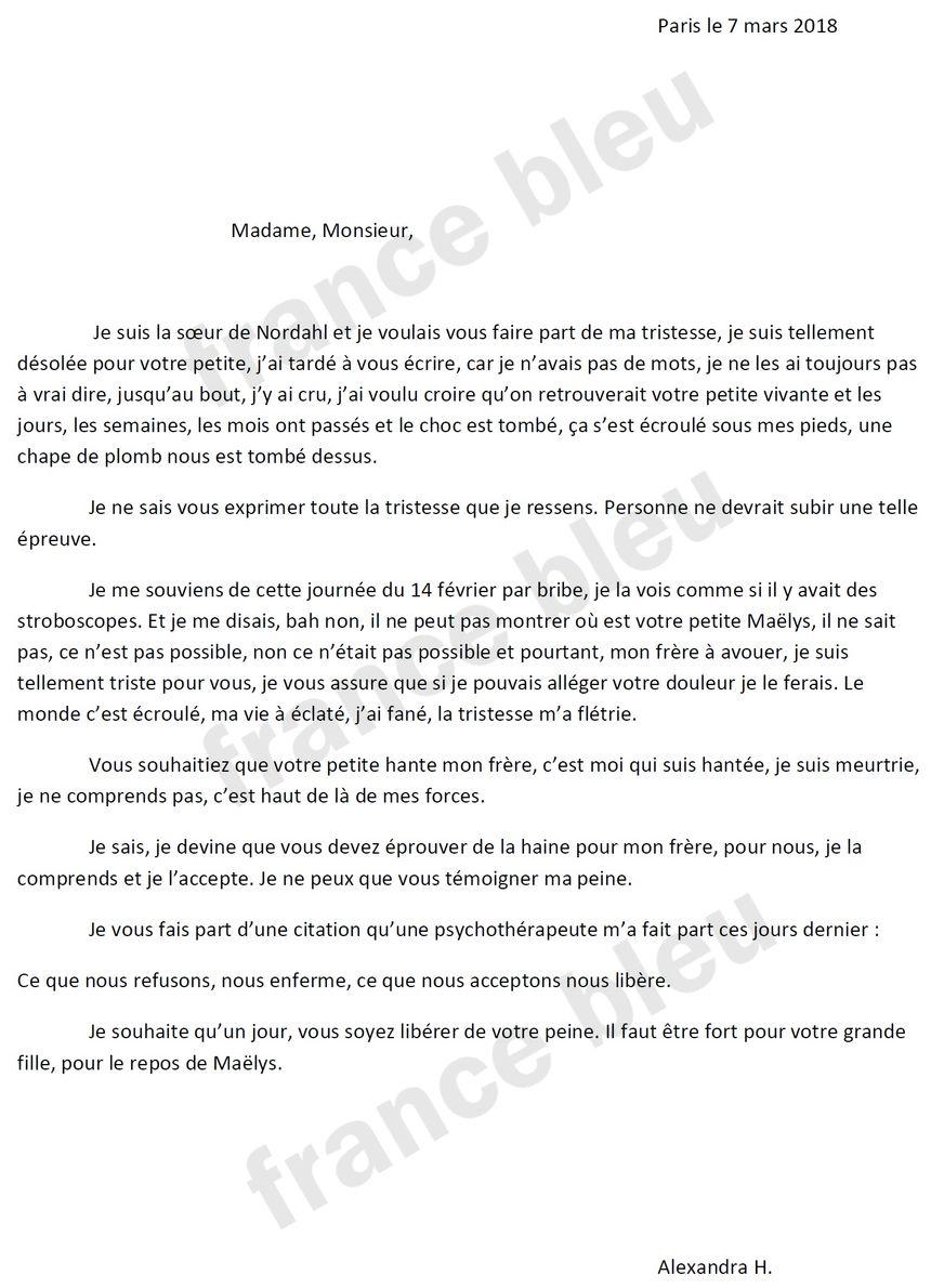 La lettre écrite par la demi-sœur de Nordahl Lelandais aux parents de Maëlys