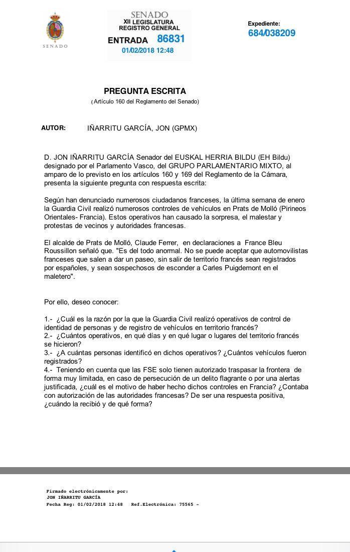 La question écrite déposée par le sénateur Jon Iñarritu