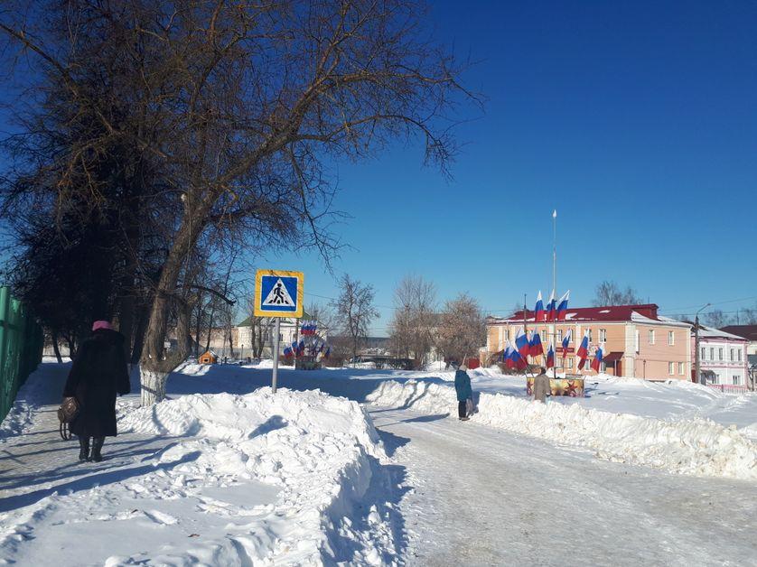 Ardatov, petite ville russe à quelque 400 kilomètres de Moscou, pavoisée avant le scrutin du 18 mars