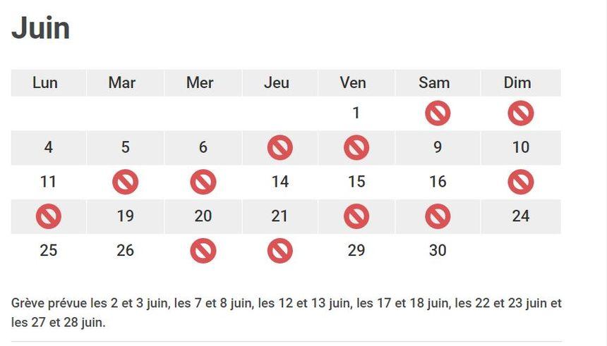 Jours de grève prévus en juin