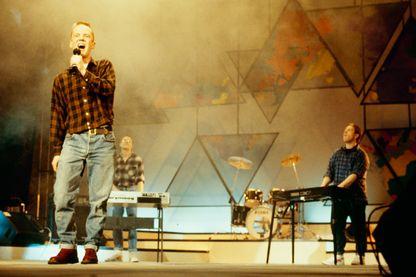Le trio anglais Bronski Beat (Jimmy Somerville, Steve Bronski and Larry Steinbachek) au cours d'un concert à Cannes en 1985
