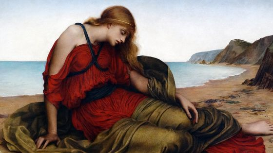 """Ariadne in Naxos"" (1877) par la peintre anglaise Evelyn De Morgan (1855 – 1919)"