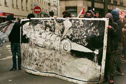 Cortège de tête, manifestation des cheminots. Paris, 22 mars 2018