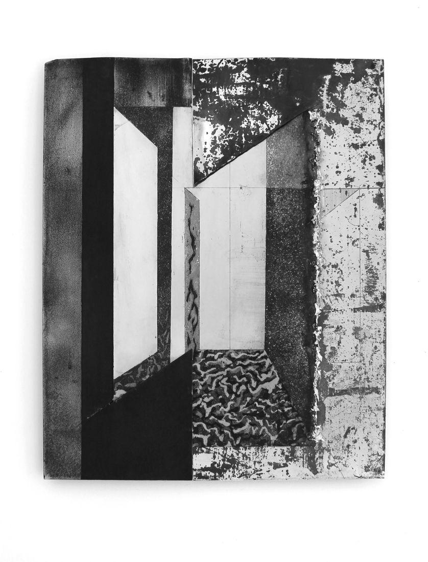 """Pia Rondé & Fabien Saleil, """"Chambre"""", 2018, Dessin à l'eau-forte et aquatinte sur zinc, étain,  acier,  50 cm x 40 cm"""