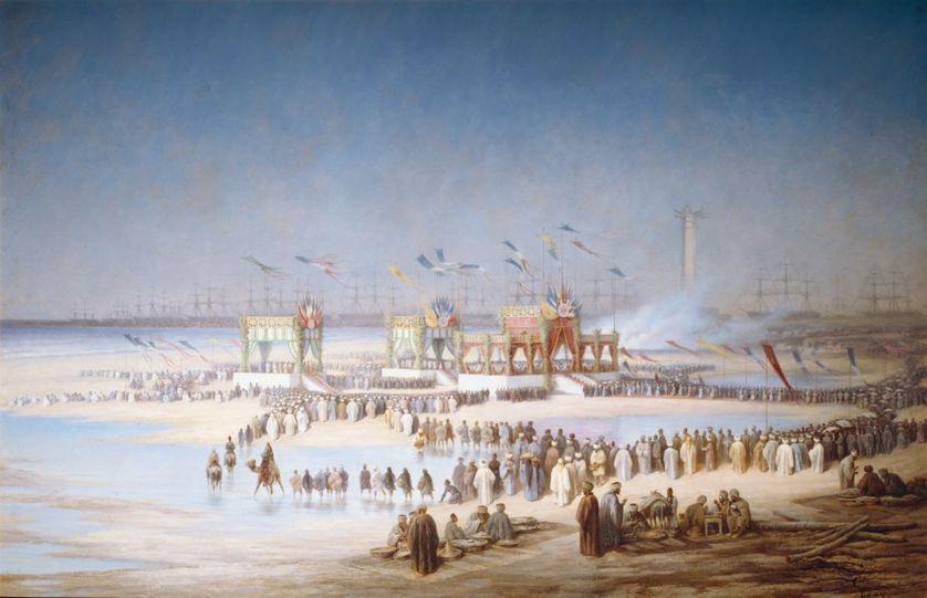 Edouard Riou (1833-1900) : Cérémonie d'inauguration du Canal de Suez à Port-Saïd, le 17 novembre 1869.