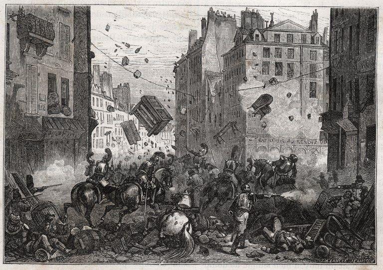 La rue Saint-Antoine lors des Trois-Glorieuses (juillet 1830) - Révolution de 1830, combat de barricades dans la rue Saint-Antoine.