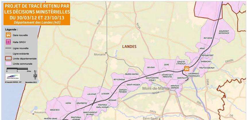La carte du tracé de la LGV Bordeaux-Dax dans les Landes