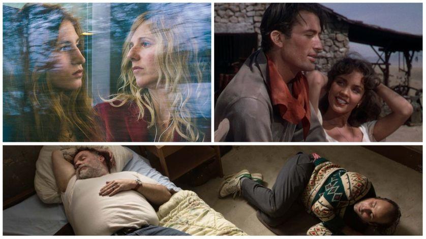En haut de gauche à droite : Sandrine Kimberlain et Agathe Bonitzer (Copyright Claire Nicol / Christmas In July) - Jennifer Jones, Joseph Cotten (Duel au soleil).