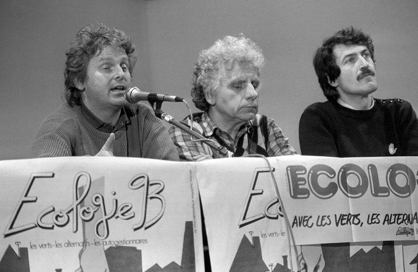 Daniel Cohn-Bendit en 1986, lors d'un meeting de soutien aux candidats écologistes aux élections législatives.