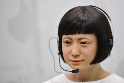 """Un robot produit par les Laboratoires Hiroshi Ishiguro du Japon appelé """"Kodomoroid"""" exposé à l'exposition ROBOT au Science Muséum de Londres le 7 février 2017."""