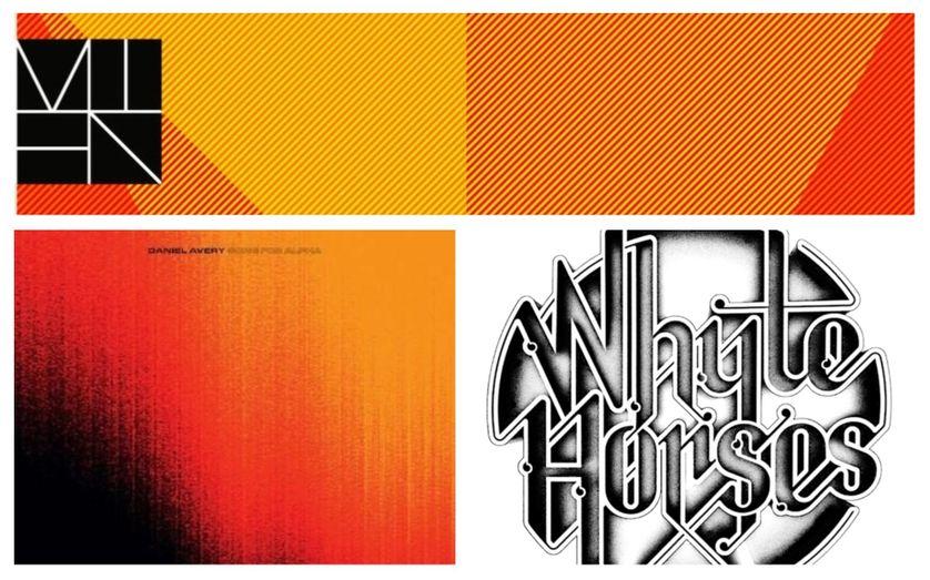 """En haut : pochette de l'album """"Mien"""". En bas de gauche à droite les pochettes des albums de Daniel Avery et Whyte Horses."""