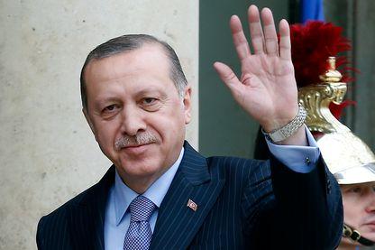 Le président turc Recep Tayyip Erdogan en janvier 2018  à l'Elysée