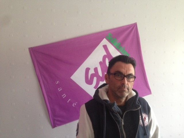 Pierrick Morfoisse dans son local syndical au centre Rey-Leroux