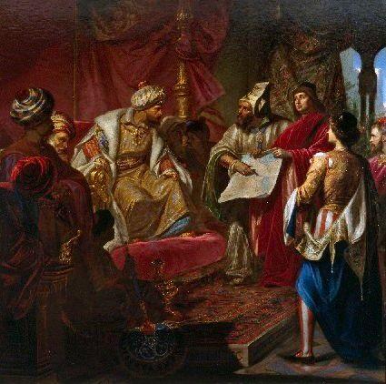 Giulio Carlini, Les Vénitiens présentent leur projet de Canal au sultan, 1869