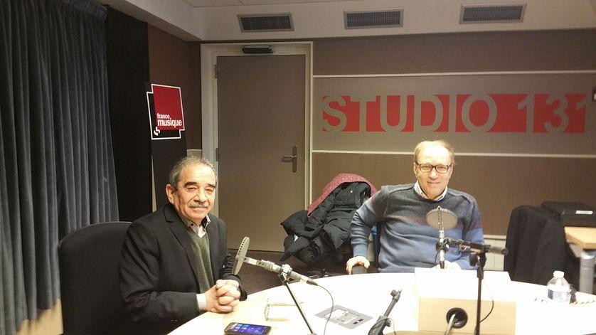 Adil Jazouli (à gauche) et Ghaleb Bencheikh lors de l'enregistrement
