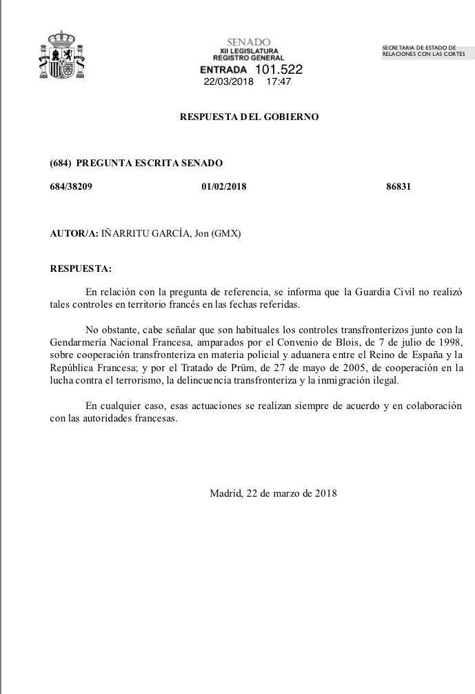 La réponse du gouvernement espagnol le 22 mars 2018