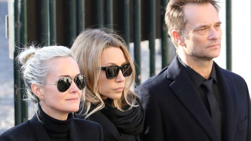 Laeticia, Laura et David lors des obsèques de Johnny Hallyday, en décembre dernier.