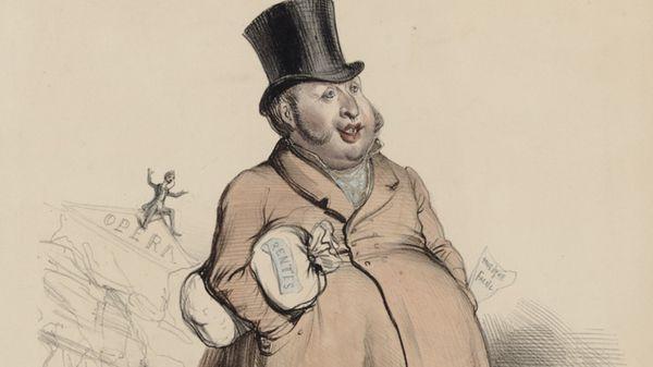 """Caricature de Rossini par Benjamin, publiée dans le journal """"Le Charivari"""" en 1839."""