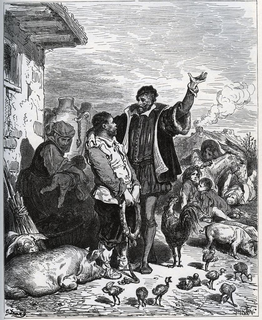 Don Quichotte convint son voisin Sancho Panza d'être son écuyer