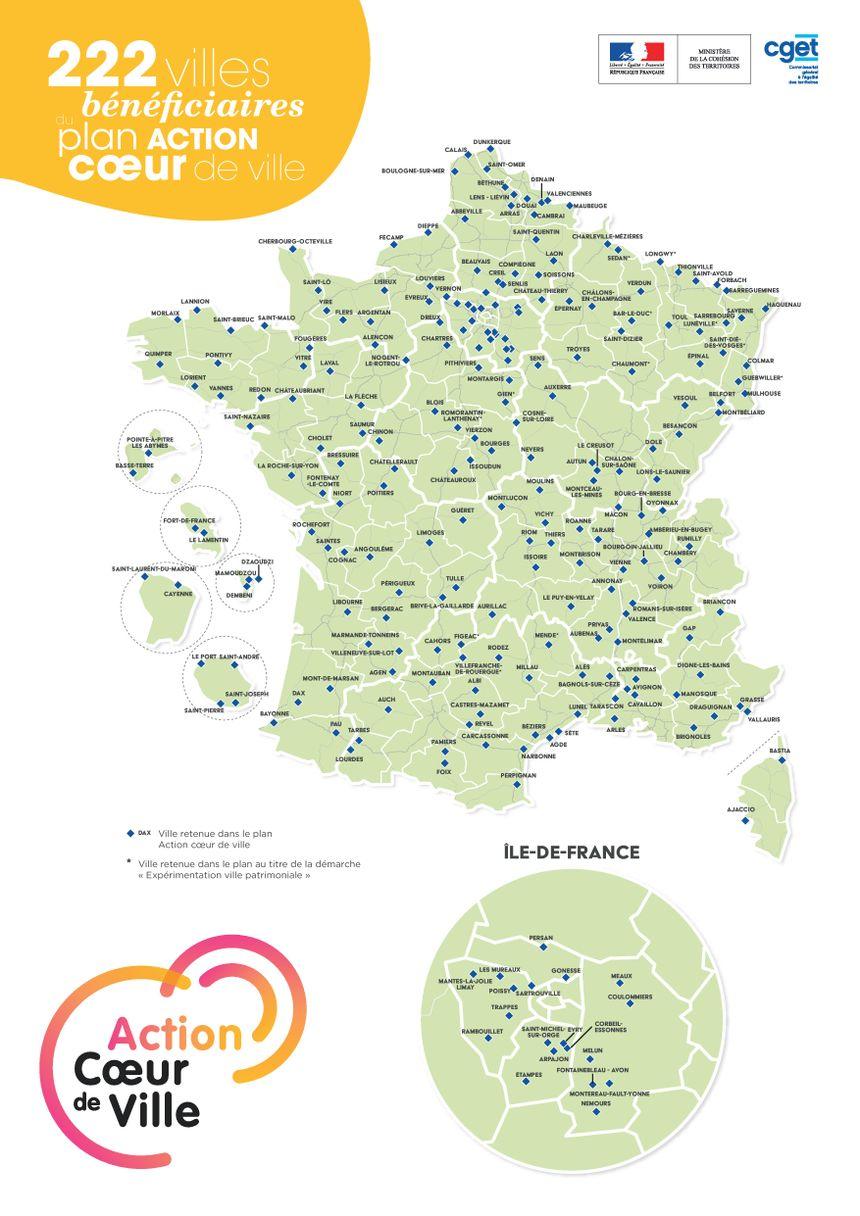 Les 222 villes retenues pour la revitalisation des centres-villes dans le cadre du plan gouvernemental