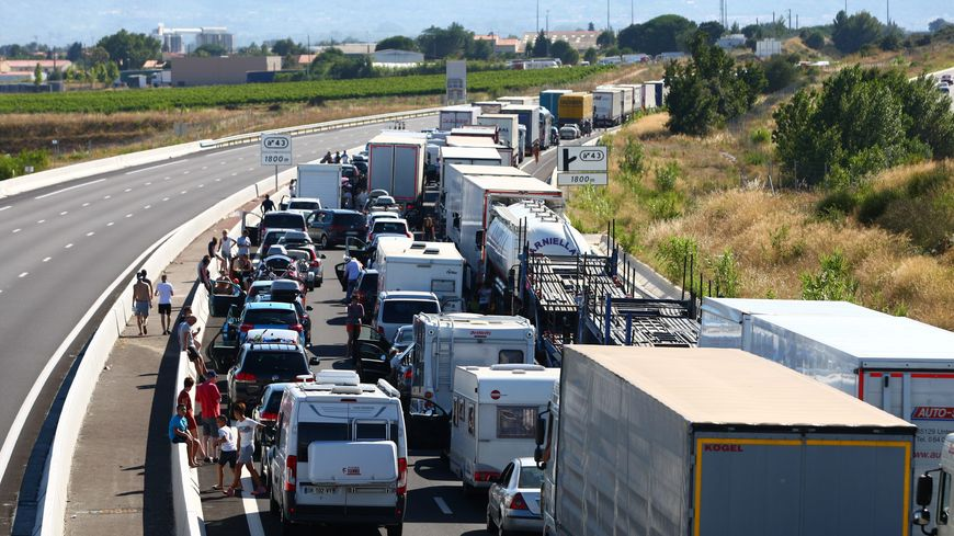 Un embouteillage sur l'autoroute A9 près du Boulou (illustration)