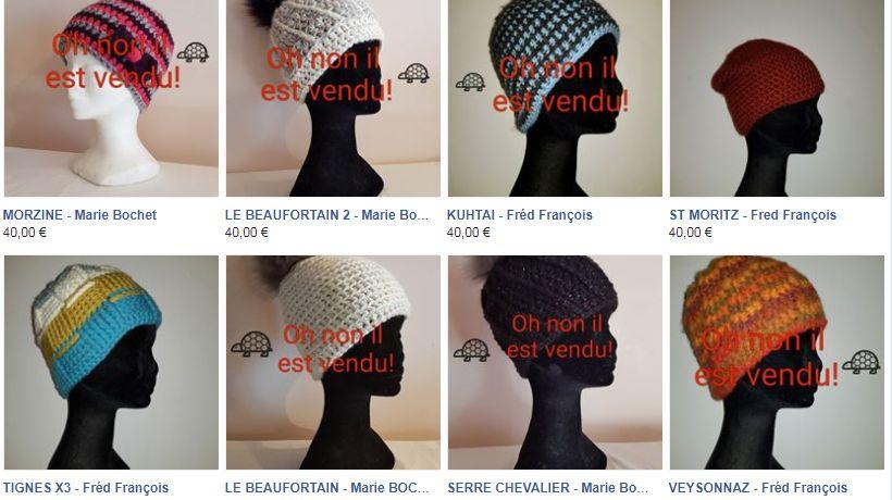 Les bonnets fabriqués par les champions paralympiques français sont en vente sur Facebook