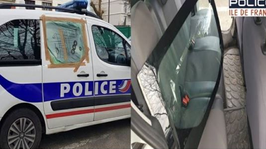 voiture de police vandalisée