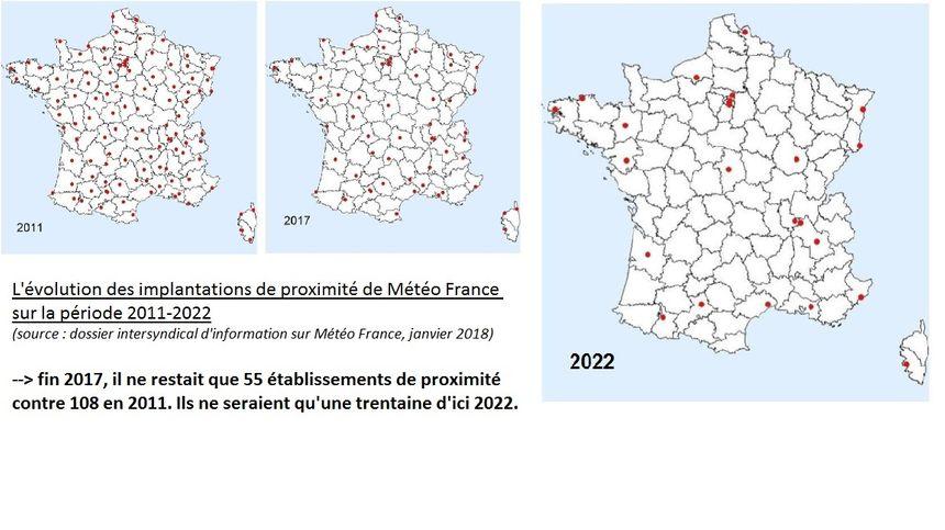 La carte du nombre d'implantations locales de Météo France montrent l'évolution de ces 10 dernières années