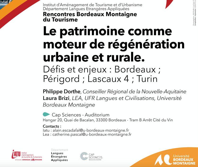 """Affiche de la conférence """"Le patrimoine comme moteur de régénération urbaine et rurale"""