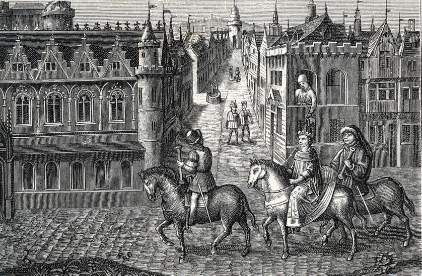 """""""Le roi saint Louis (Louis IX) recevant sur la tête le pot de chambre d'un étudiant alors qu'il se rend a la messe aux cordeliers """""""