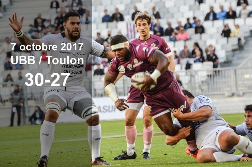 7 octobre 2017 : UBB / Toulon (30-27)