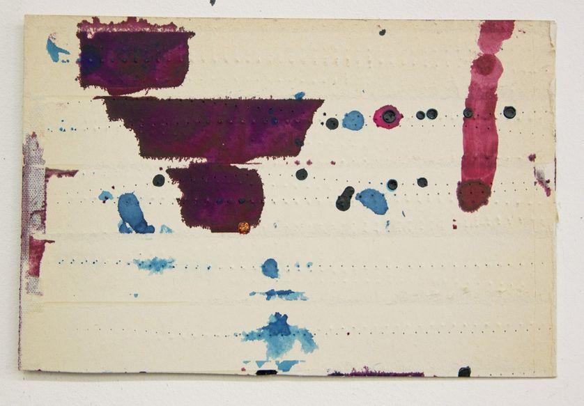 Été 2017, 2017, peinture, graphite, paraffine sur papier imprimé, 92 x 60 cm