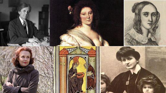 A partir d'en haut à gauche : Ethel Smyth, Barbara Strozzi, Louise Farrenc, Kaija Saariaho, Hildegarde de Bingen et Alma Mahler