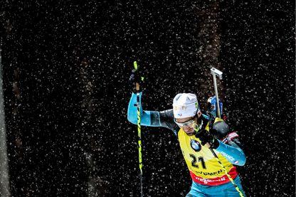 Martin Fourcade lors de la Coupe du monde de biathlon à Tioumen en Russie