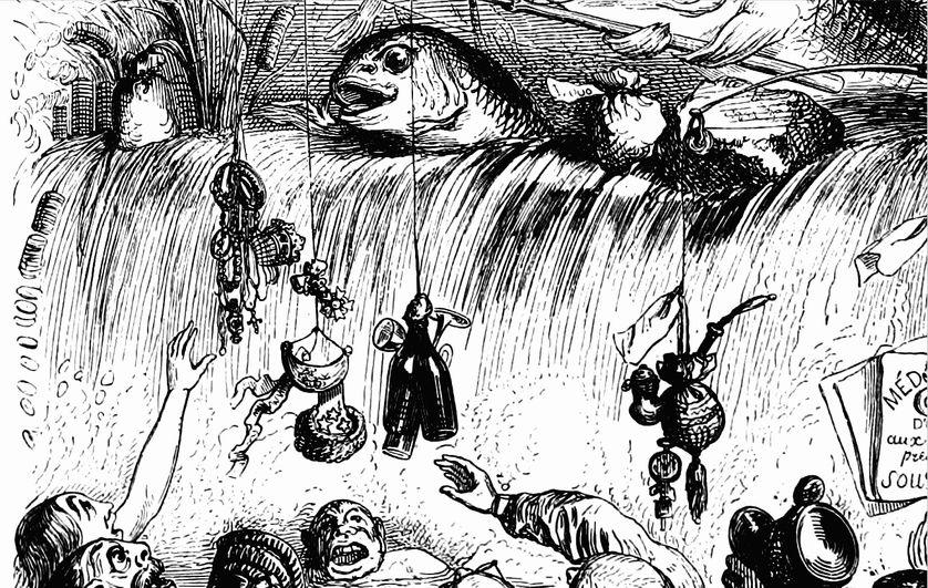 """Illustration par Grandville, """"Poisson d'avril"""""""